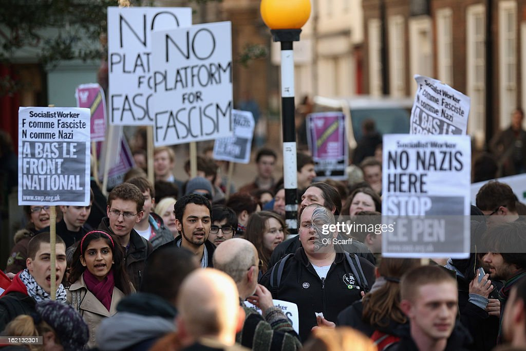 Protesters gather outside Cambridge University's Student Union as Marine Le Pen, the leader of the French far-right 'Front National' party, prepares to address the Union's debating society on February 19, 2013 in Cambridge, England. Mrs Le Pen, who has been an MEP since 2004 and is the daughter of former Front National leader Jean Marie Le Pen, is expected to speak about the future of the European Union and French politics. Although her appearance at the Union has provoked controversy with the anti-fascist group 'Unite Against Fascism'.