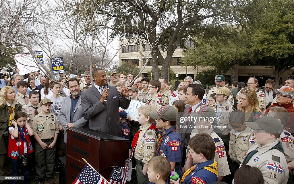 Protesters gather outside the Boy Scouts of America national headquarters in Irving, Texas, Wednesday, February 6, 2013, to voice their opposition against allowing gays as members.