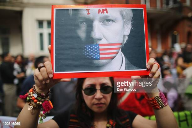Protesters gather outside the Ecuadorian Embassy where Julian Assange founder of Wikileaks is staying on August 16 2012 in London England Mr Assange...