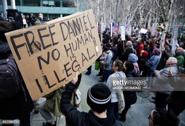 Protesters gather outside US District Court during a hearing for Daniel Ramirez Medina a Deferred Action for Childhood Arrivals recipient who was...