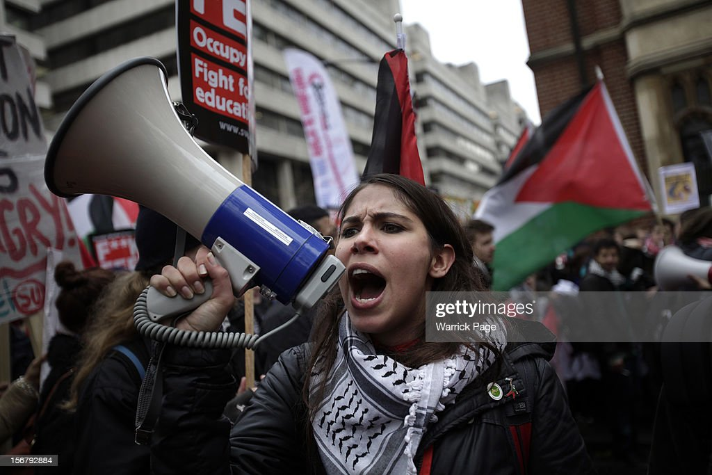 Protesters gather to demonstrate against education cuts, tuition increases and austerity on November 21, 2012 in London, England. The demonstration march was organised by the National Union of Students and is the first national student protest since a series of violent protests against tuition fees two years ago.
