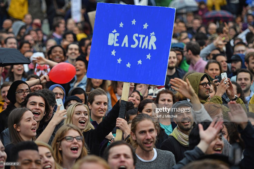 Protesters gather to demostrate against the EU referendum result in Trafalgar Square on June 28, 2016 in London, England. Up to 50,000 people were expected before the event was cancelled due to safety concerns. Early evening up to 300 people have still converged on the square to vent their anti-Brexit feelings.