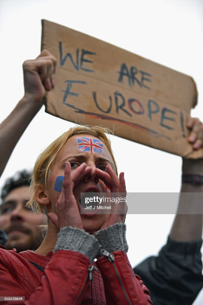 Protesters gather to protest against the EU referendum result in Trafalgar Square on June 28, 2016 in London, England. Up to 50,000 people were expected before the event was cancelled due to safety concerns. Early evening up to 300 people have still convereged on the square to vent their anti-Brexit feelings.