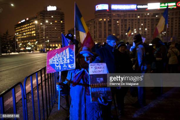 Protesters gathered in front of the government headquarters at the Victoriei Square are now demanding resignation of PM Sorin Grindeanu on February...