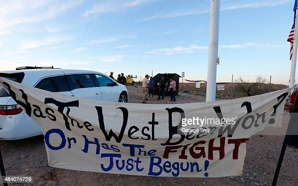 Protesters hang signs along US highway 170 protesting the closure of thousands of acres of Bureau of Land Management land that has been temporarily...