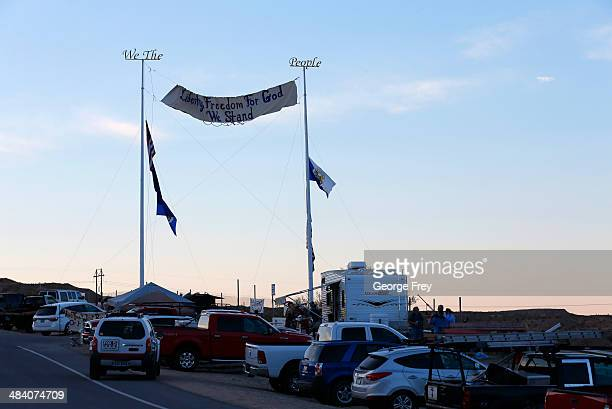 Protesters hang signs and set up camp along US highway 170 protesting the closure of thousands of acres of Bureau of Land Management land that has...