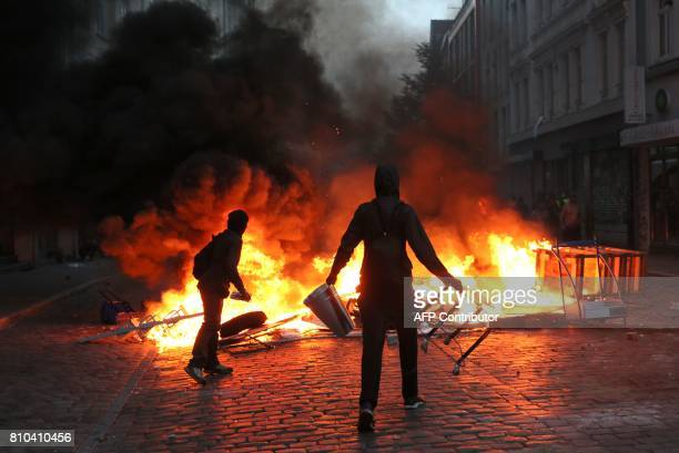 Protesters have set barricades alight on July 7 2017 in Hamburg northern Germany where leaders of the world's top economies gather for a G20 summit...