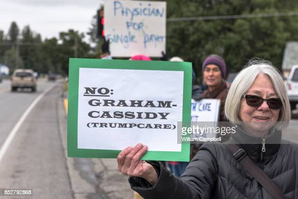Protesters hold a small peaceful demonstration in support of health care on September 23 2017 in Livingston Montana The state of Montana expanded...