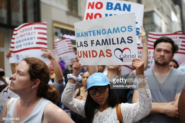 Protesters hold banners during a rally against US President Donald J Trump's potential repealing of Deferred Action for Childhood Arrivals which...