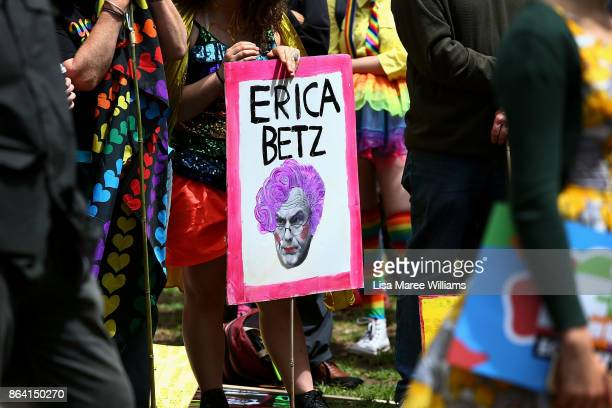 Protesters hold signs during the YES March for Marriage Equality on October 21 2017 in Sydney Australia Australians are currently taking part in the...