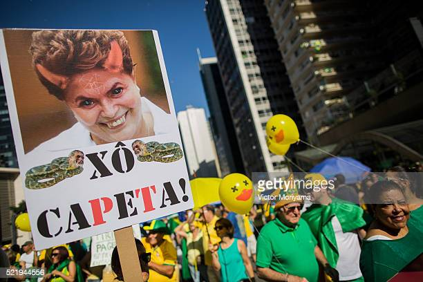 Protesters in favor of impeachment of President Dilma Rousseff protest in the streets April 17 2016 in Sao Paulo Brazil The Lower House of Congress...