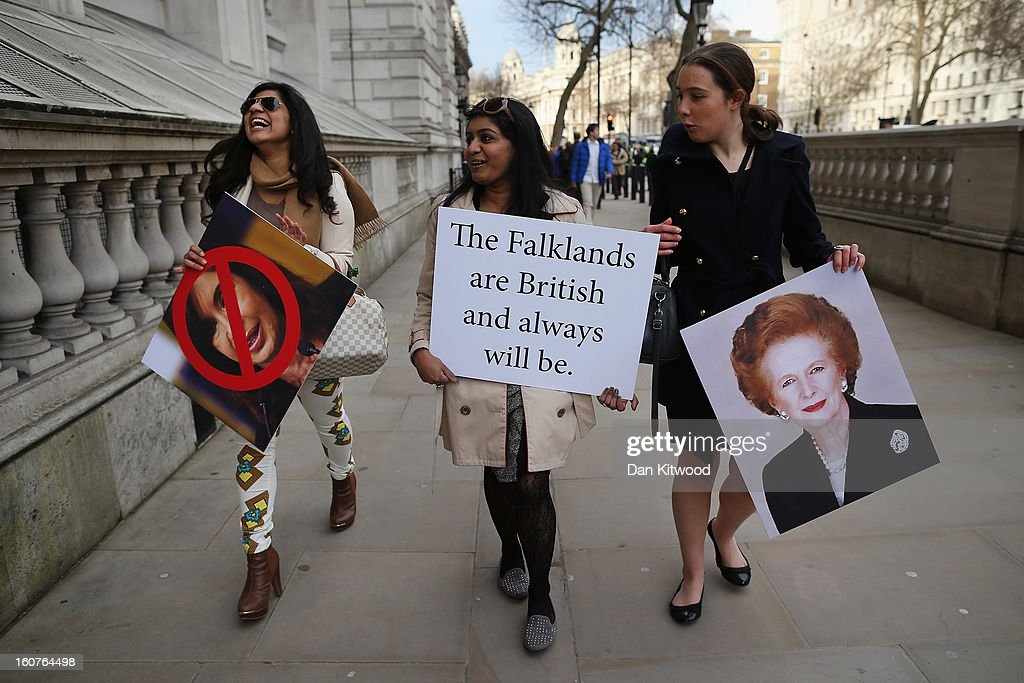 Protesters in favour of UK sovereignty of the Falkland Islands gather on Whitehall on February 5, 2013 in London, England. Argentina's Foreign Minister Hector Timerman is currently in London for the first time to argue for Argentinian sovereignty over the Falklands and has claimed that not 'one single country' supports the UK's right to govern the islands.
