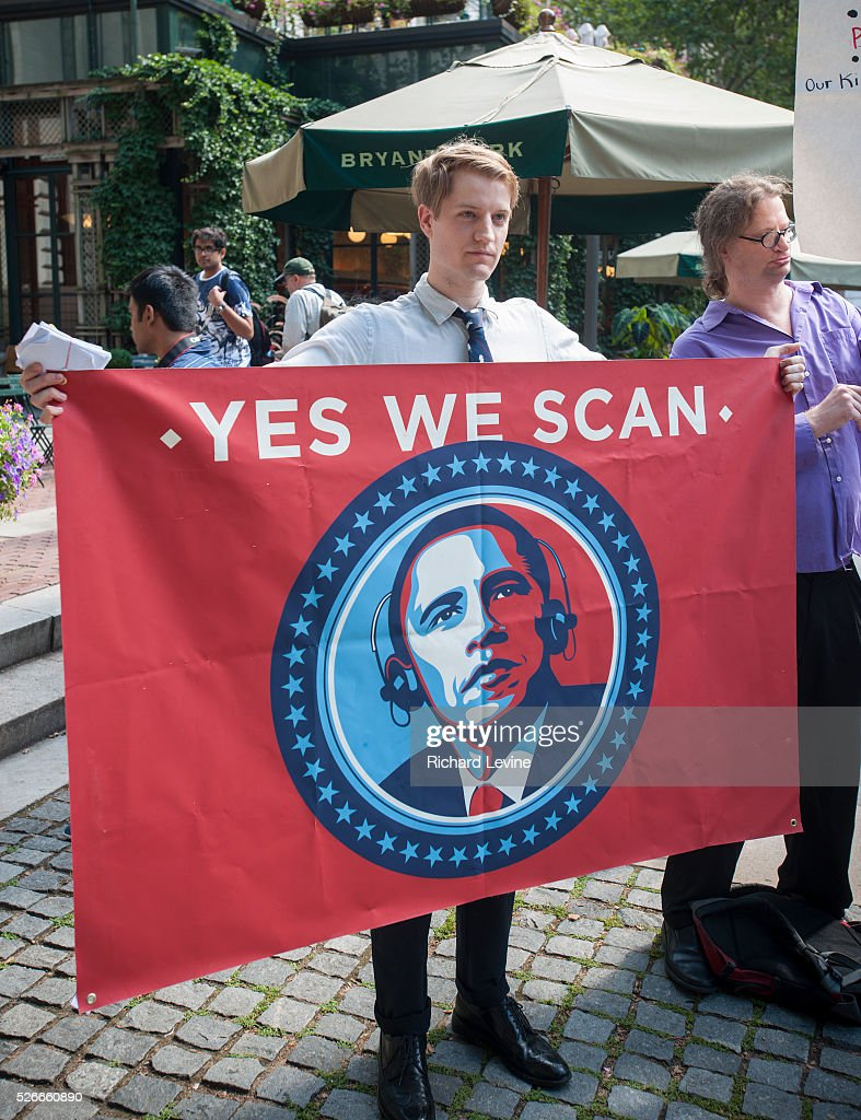 Protesters in midtown Manhattan in New York demonstrate against the National Security Agency's surveillance of Americans' telephone records on Sunday...