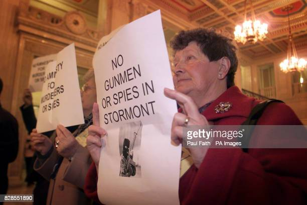 Protesters in the Great Hall of Stormont Belfast where a fresh round of talks aimed at reestablishing devolution in Northern Ireland got under way *...