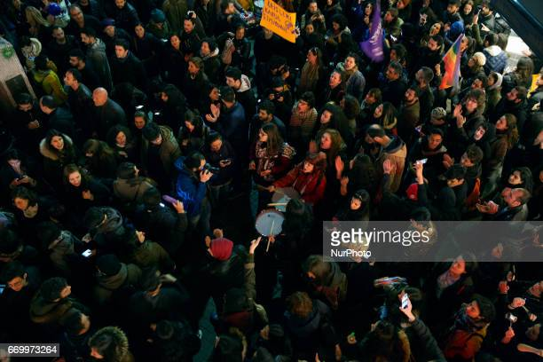 Protesters in the Kadikoy neighborhood of Istanbul on April 18 2017 People marched in opposition to perceived voting irregularities in Sunday's...