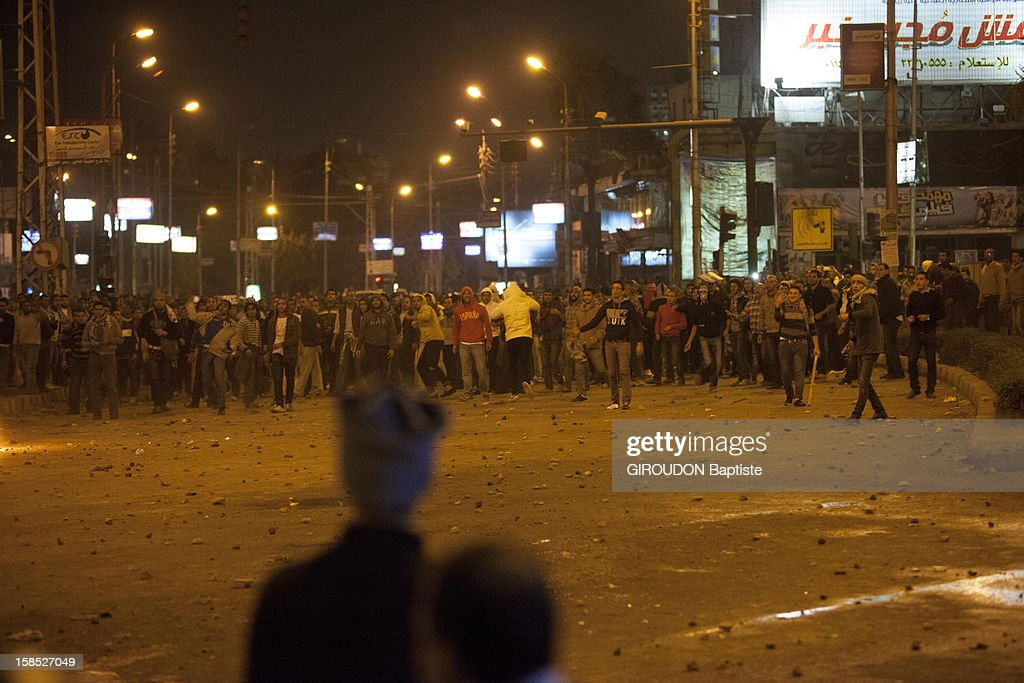 Protesters in the street protesting against the Egyptian President President Morsi outside the Presidential Palace on December 5, 2012 in Cairo,Eqypt.