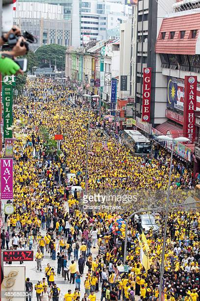 Protesters make their way to Merdeka Square during the Bersih 40 rally on August 29 2015 in Kuala Lumpur Malaysia Prime Minister Najib Razak has...