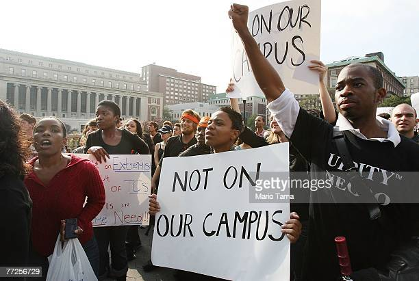 Protesters march at Columbia University October 10 2007 in New York City Black professor Madonna Constantine discovered a hangman's noose on her...