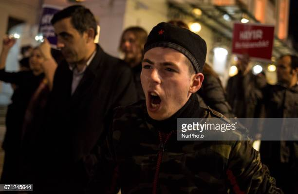 Protesters march hundreds the Besiktas neighborhood of Istanbul on April 21 2017 People marched in opposition to perceived voting irregularities in...