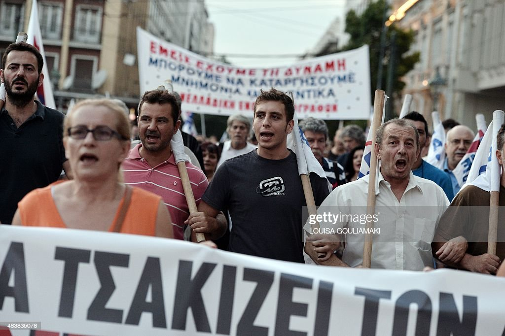 Protesters march in central Athens during a demonstration against the third bailout agreement on August 13 2015 Greek lawmakers were preparing to...