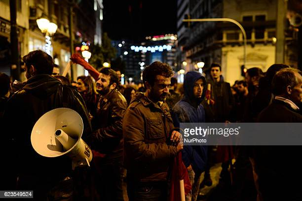 Protesters march in central Athens during a demonstration against US president Obama visit in Greece on November 15 2016