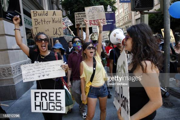 Protesters march in the downtown financial district to mark the oneyear anniversary of the Occupy movement on October 1 2012 in Los Angeles...