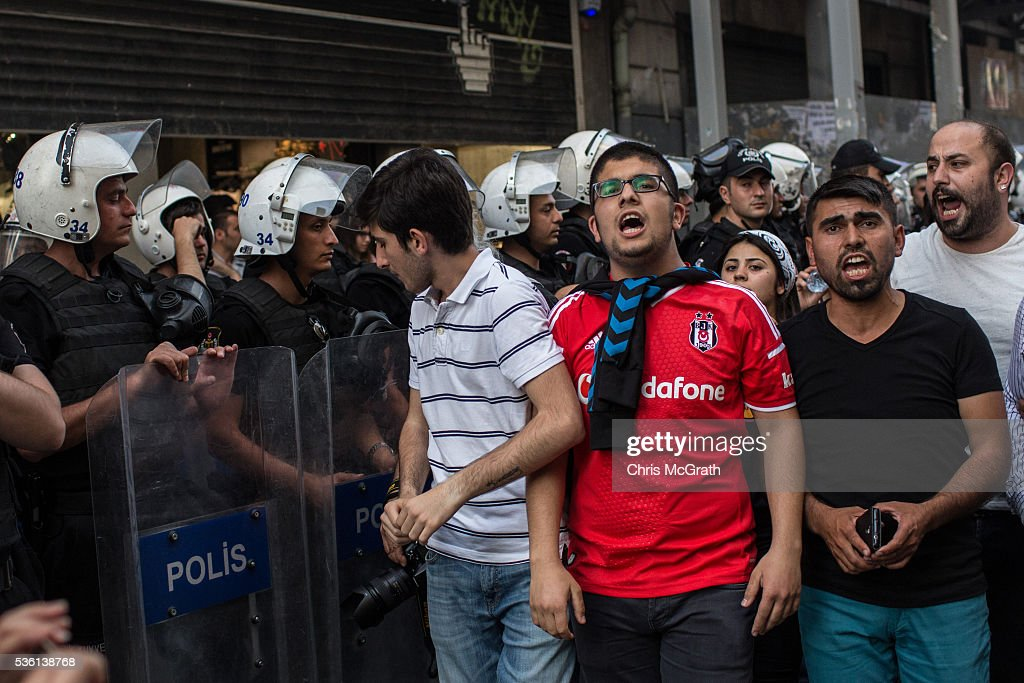 Protesters march to Gezi Park on the third anniversary of the Gezi Park protests on May 31, 2016 in Istanbul, Turkey. The protests began on May 28, 2013 to contest the planned urban development of Gezi Park, however larger protests started after police evicted protesters from the park sparking weeks of civil unrest.