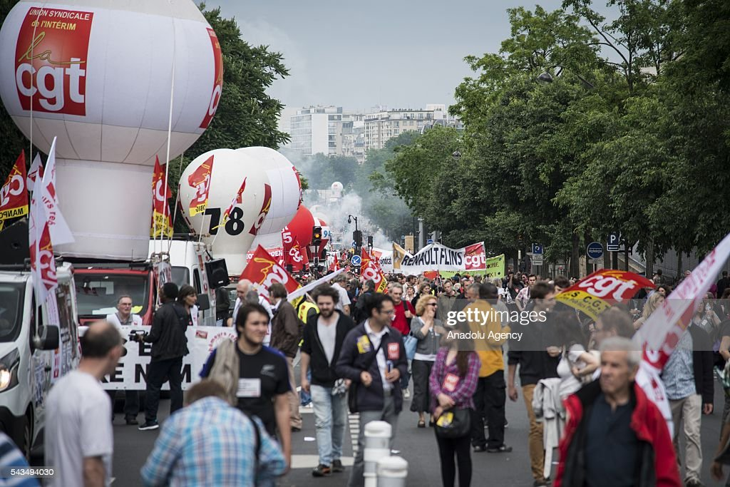 Protesters march to Place de la Bastille during a protest against the labour law in Paris, France on June 28, 2016. Country-wide protests and strikes, led by uniuons has been continuing for weeks.