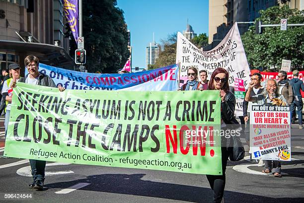 Protesters marched along Sydney streets to demand all asylum seekers and refugees be brought to Australia following PNG government's decision to...