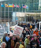 Protesters marched to the UN headquarters in New York to demand the abolition of nuclear arms Tuesday The demonstration which coincided with a United...