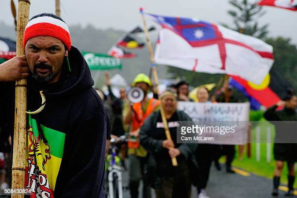 Protesters move to the Marae on February 5 2016 in Waitangi New Zealand The Waitangi Day national holiday celebrates the signing of the treaty of...