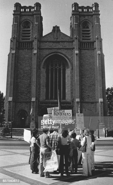 Protesters of British policy in Northern Ireland gathered in front ***** cathedral Sunday to chant antiBritish slogans Credit The Denver Post