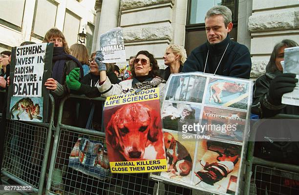 Protesters of the Stop Huntingdon Animal Cruelty movement outside Stephens Inc the US company that recently bought the controversial Huntingdon Life...
