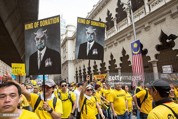 Protesters on the streets around Merdeka Square during the Bersih 40 rally on August 29 2015 in Kuala Lumpur Malaysia Prime Minister Najib Razak has...
