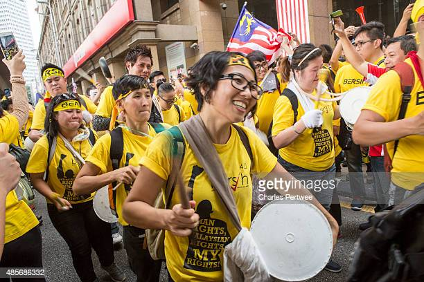 Protesters on the streets around Merdeka Square during the Bersih 40 rally on August 29 2015 in Kuala Lumpur Malaysia Prime Minister Najib Razak has...