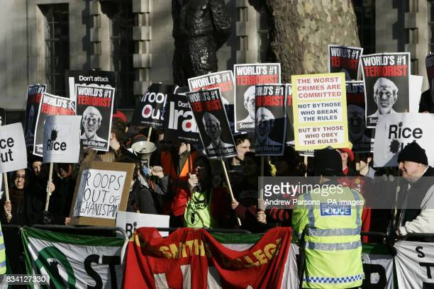 Protesters outside Downing Street in London during US secretary of state Condoleezza Rice's visit to the capital