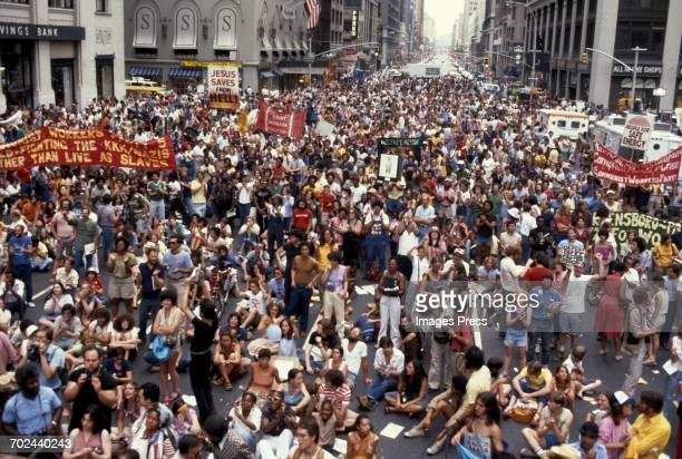 Protesters outside the 1980 Democratic National Convention held at Madison Square Garden circa 1980 in New York City