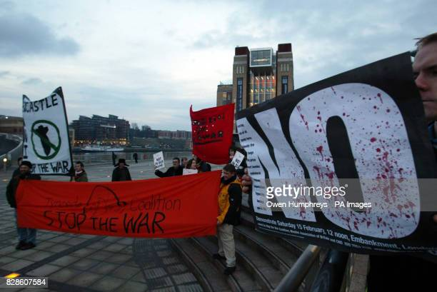 Protesters outside the Baltic Arts Centre in Newcastle where Tony Blair is being interviewed by Jeremy Paxman The Prime Minister arrived in a fleet...