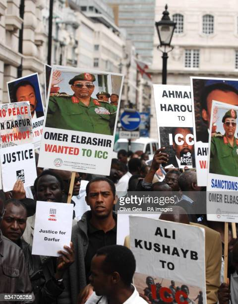 Protesters outside the Sudanese embassy in central London demonstrating for justice in Darfur in support of International Criminal Court whose...