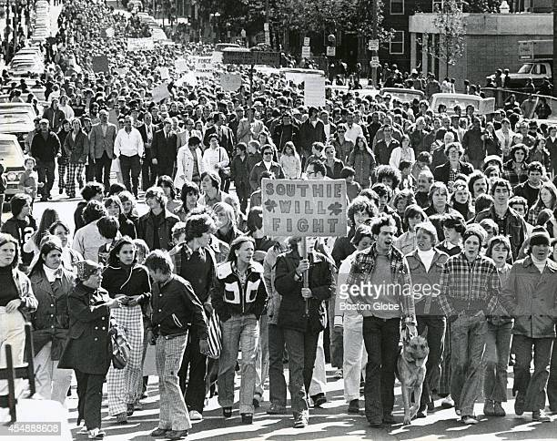 Protesters participate in an antibusing march in South Boston on Oct 4 1974 An initiative to desegregate Boston Public Schools was implemented in the...