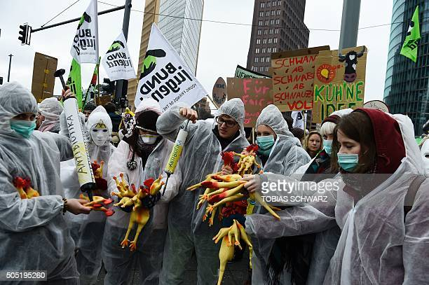 Protesters perform with fake chicken and mock injections reading 'antibiotics' while taking part in a demonstration with the motto 'we are fed up'...