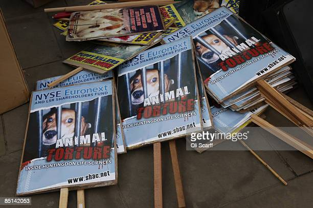 Protesters' placards lie on the floor prior to a demonstration for 'Stop Huntingdon Animal Cruelty' in front of the Bank of England on February 27...