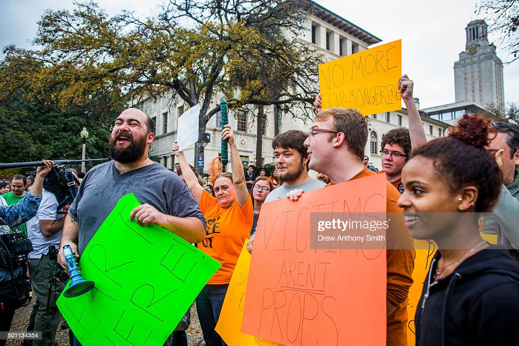 Protesters rally against an open carry demonstration close to The University of Texas campus December 12 2015 in Austin Texas In addition to the...