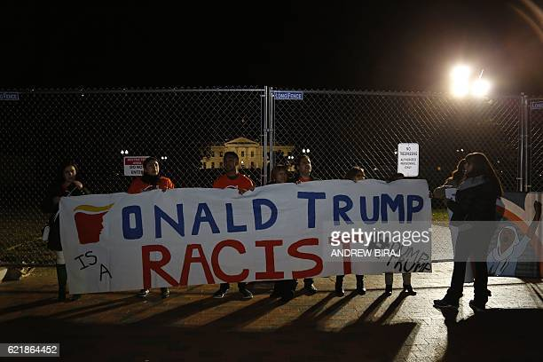 Protesters rally against Donald Trump outside the White House in Washington during the US presidential election night on November 9 2016 Millions of...