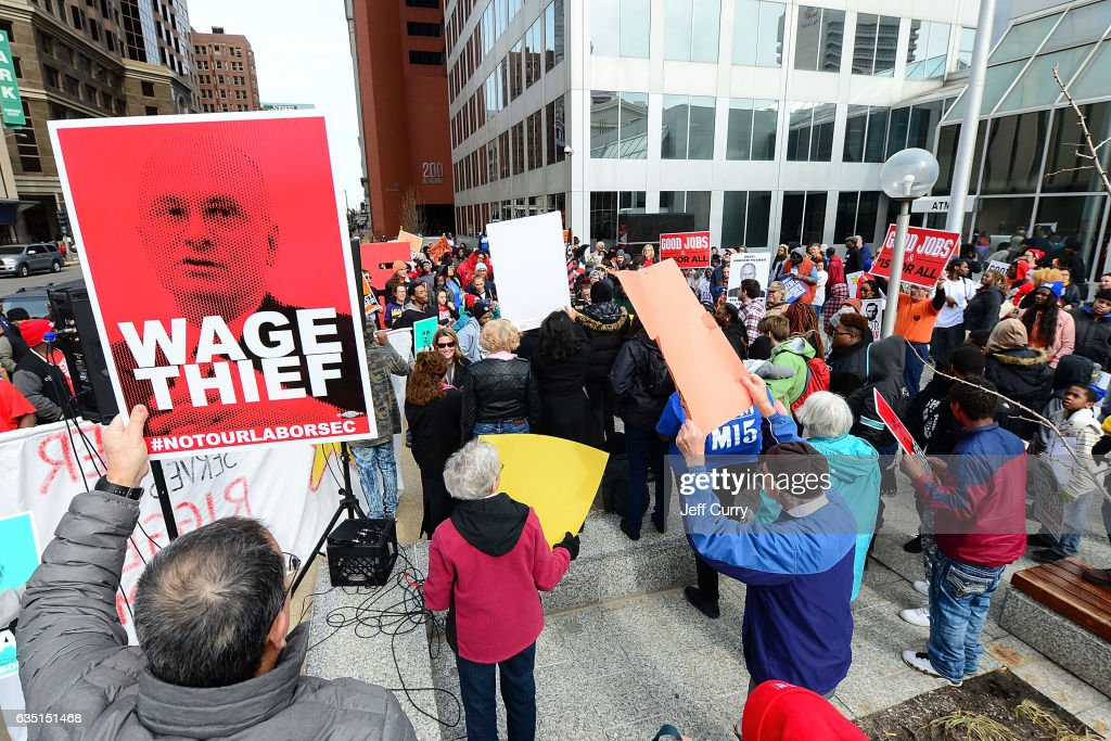 Image result for photos of rallies v puzder