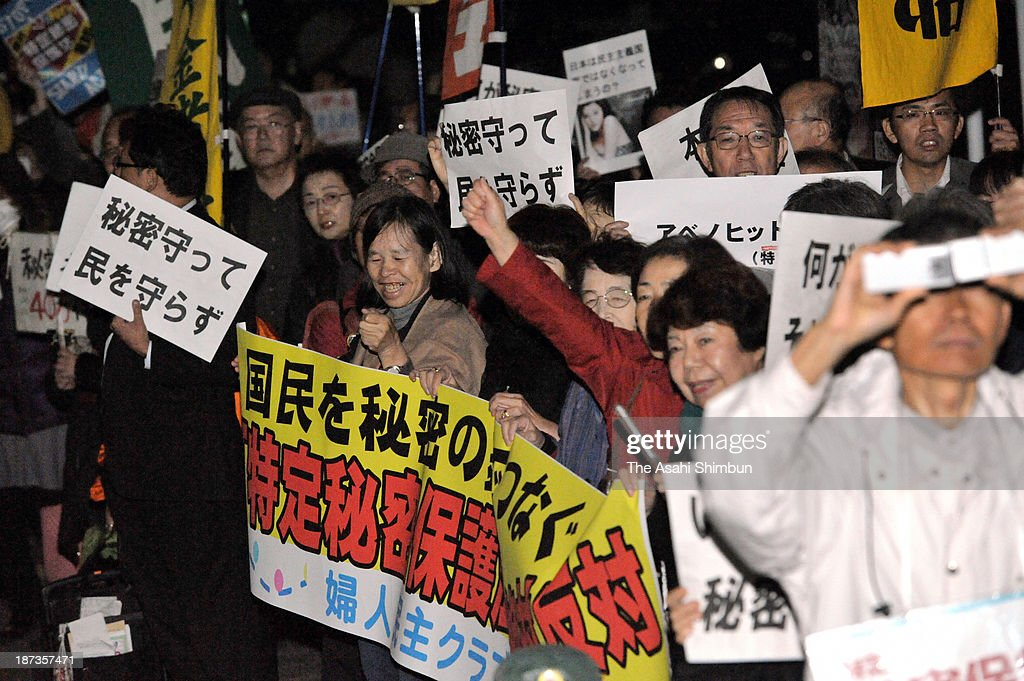 Protesters rally against the proposed state secrets protection law in front of the prime minister's official residence on November 7, 2013 in Tokyo, Japan. In a plenary session, the Lower House started deliberations on the state secrets protection bill, which will toughen penalties on public servants who leak 'specified secrets' that could jeopardize Japan's national security. Under the bill, public servants and other individuals can be imprisoned for up to 10 years if they disclose specified secrets.