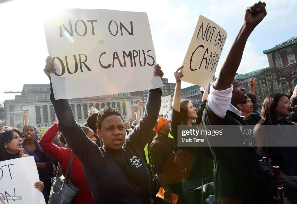 Protesters rally at Teachers College at Columbia University October 10 in New York City Black professor Madonna Constantine discovered a hangman's...