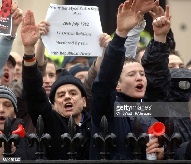 Protesters shout and gesture at a parade to remember the victims of Bloody Sunday in Glasgow this morning Around 750 people were expected in the city...