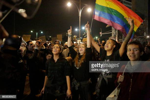Protesters shout antifascist slogans Hundreds of protesters gathered outside a club near the central Alexanderplatz in Berlin that was the venue of...