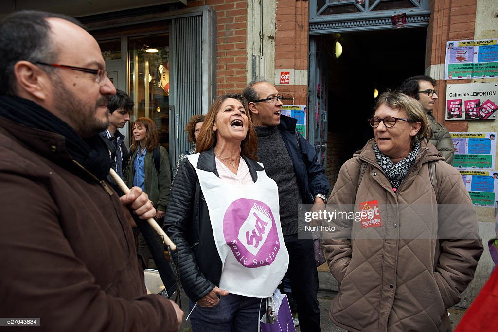 Protesters shout slogans against the El-Khomri bill on labour reform in front of the comittee room of the French Socialist MP, Catherine Lemorton.Toulouse. France. May 3th 2016.